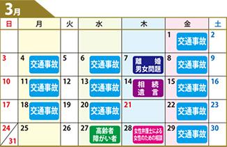 鹿児島県弁護士会無料相談カレンダー3月